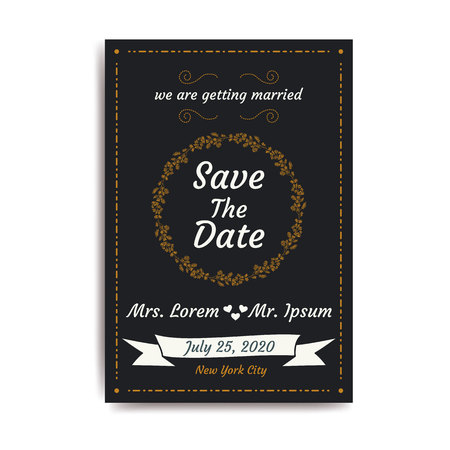 Wedding save the date, invitation card with black background, vector, illustration, eps file