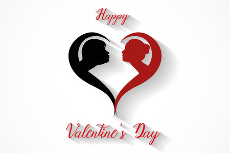 Happy valentine's day kissing couples silhouette on white background, vector, illustration, eps file Stockfoto - 126585338