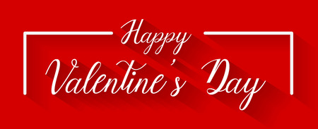 Happy valentines day writing on red background, vector, illustration, eps file Stock Illustratie