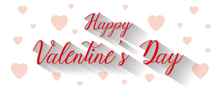 Happy valentines day writing and hearts on white background, vector, illustration, eps file