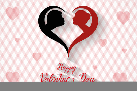 Happy valentine's day kissing couples silhouette background, vector, illustration, eps file Stockfoto - 126505288