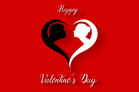 Happy valentine's day kissing couples silhouette on red background, vector, illustration, eps file Stockfoto - 126450195