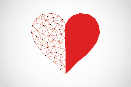 Abstract half full half empty heart icon from lines and triangles, point connecting network on white background, vector, illustration, eps file