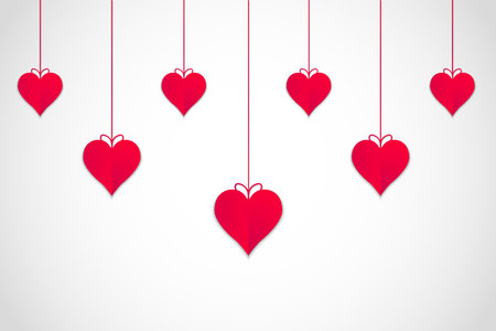 Hanging red valentines hearts with white background, vector, illustration, eps file Illustration