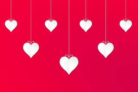Hanging white valentines hearts with red background, vector, illustration, eps file