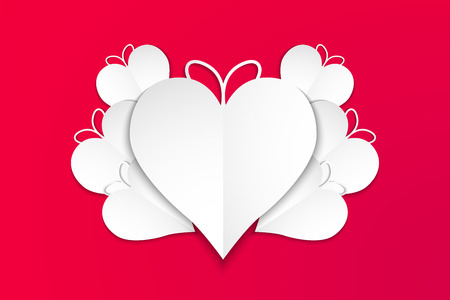 Happy valentines day, white hearts with red background, vector, illustration, eps file Çizim