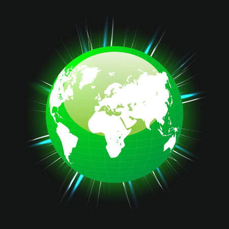 Green planet earth and world map colorful light beams, vector, illustration, eps file