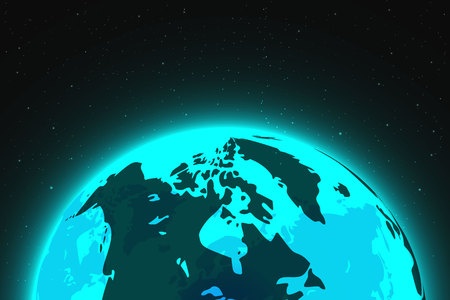 Space view of planet earth with stars, vector, illustration, eps file