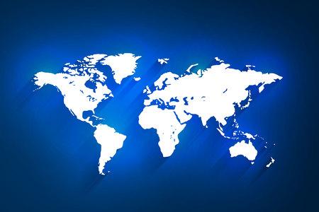 White world map on blue background, vector, illustration, eps 10 file Vetores