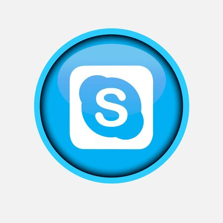 Collection of popular social media logo printed on white paper: Skype.