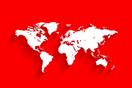 White world map on red background, vector, illustration, eps 10 file