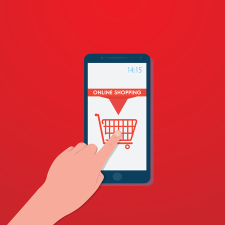Hand slide smartphone with shopping cart icon on red screen, buy travel ticket, vector, illustration, eps file