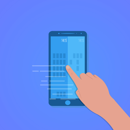Finger touch of smartphone screen with blue background, vector, illustration, eps file Illusztráció