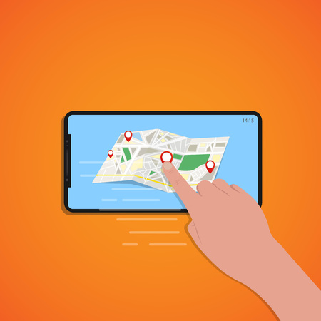 Finger touch of smartphone screen with location map, orange background, vector, illustration, eps file