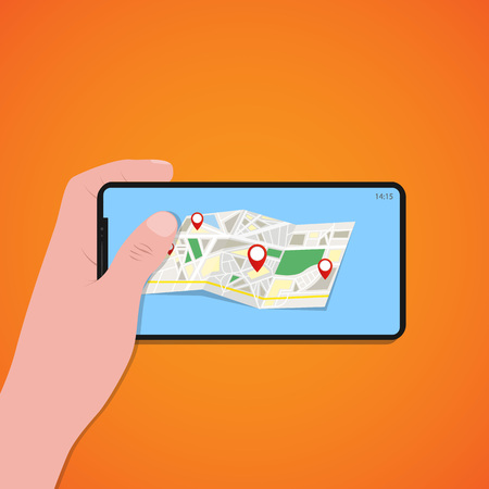 Finger touch of smartphone screen with location map, orange background, vector, illustration, eps file Vektorové ilustrace