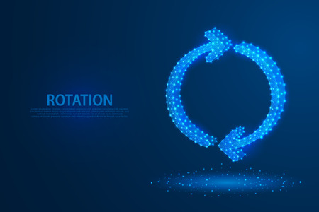 Technology rotation arrows icon with blue background, A rotate icon composed of polygons, vector, illustration