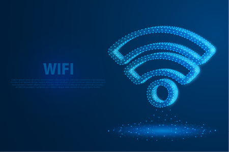 Technology wifi icon with blue background, A rotate icon composed of polygons, vector, illustration