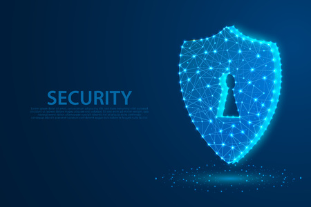 Technology security icon with blue background, A keyhole icon composed of polygons, vector, illustration
