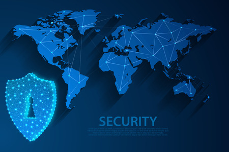 Security icon and network technology blue background with world map, vector, illustration