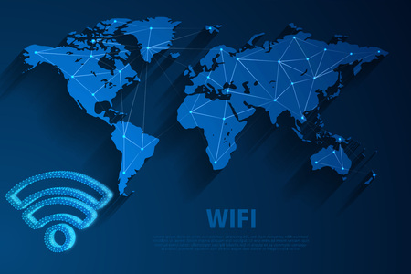 Wifi network technology blue background with world map, vector, illustration