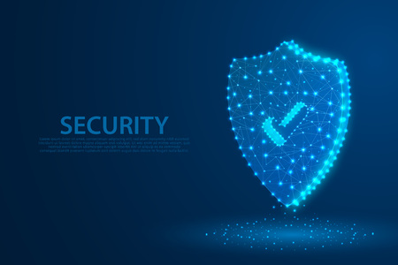 Technology security icon with blue background, A approved icon composed of polygons, vector, illustration Stockfoto - 126436375