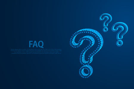 Question marks icon from lines, triangles and particle style design, vector, illustration