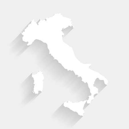 Simple white Italy map on gray background, vector, illustration