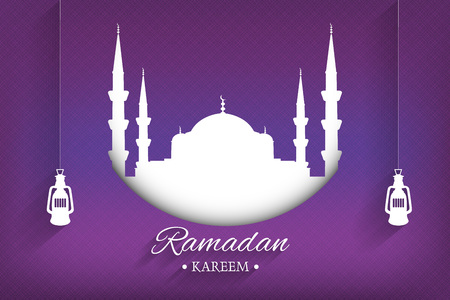 Mosque silhouette and handwritten ramadan kareem and hanging lamps with purple background, vector, illustration