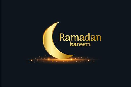 Golden Islamic moon and ramadan kareem written with black background, vector, illustration