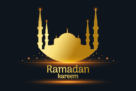 Golden Mosque silhouette and written ramadan kareem, hanging lamps with black background, vector