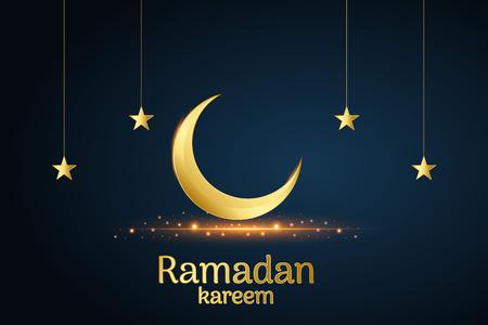 Golden Islamic moon and stars, ramadan kareem written with black background, vector, illustration Stockfoto - 126436386