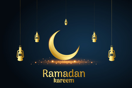 Golden Islamic moon and hanging lamps, ramadan kareem written with black background, vector, illustration