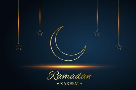 Golden Islamic moon and stars, ramadan kareem written with black background, vector Stockfoto - 126436382