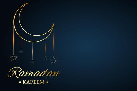 Golden Islamic moon and stars, ramadan kareem written with black background, vector Illusztráció