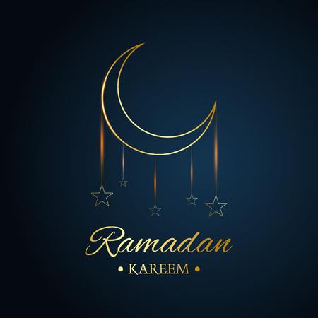Golden Islamic moon and stars, ramadan kareem written with black background, vector Stock Illustratie