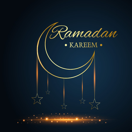 Golden Islamic moon and stars, ramadan kareem written with black background, vector, illustration Stockfoto - 126436387