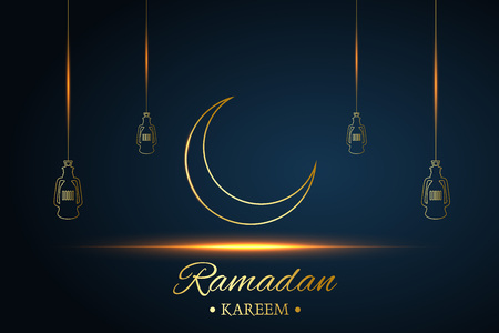 Golden Islamic moon and stars, ramadan kareem written with black background, vector, illustration Stockfoto - 126436389