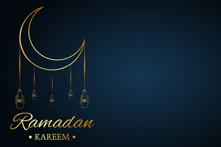 Golden Islamic moon and hanging lamps, ramadan kareem written with black background, vector