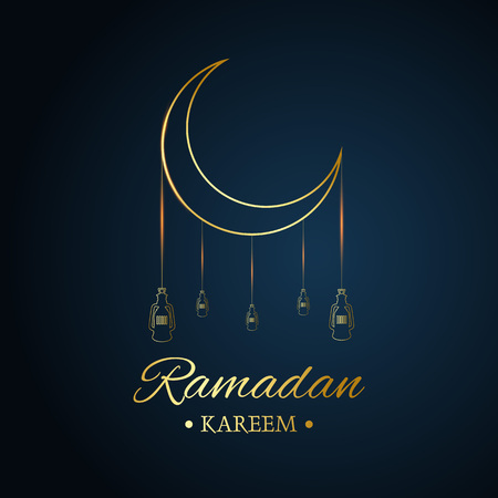 Golden Islamic moon and hanging lamps, ramadan kareem written with black background