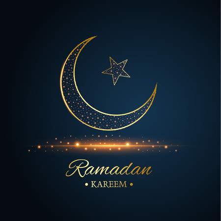 Golden Islamic moon and star, ramadan kareem written with black and dark blue background, vector