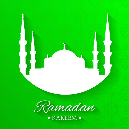 Mosque silhouette and written ramadan kareem with green background, islamic pattern, vector