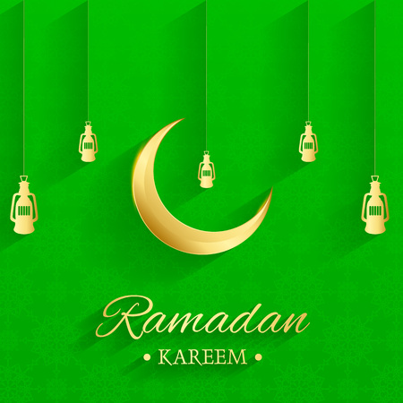 Golden Islamic moon and hanging lamps, ramadan kareem written with green background, islamic pattern Stock Illustratie