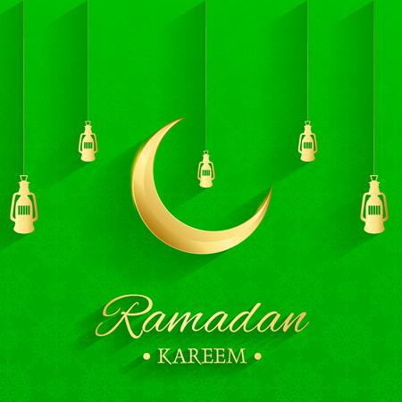Golden Islamic moon and hanging lamps, ramadan kareem written with green background, islamic pattern Illusztráció