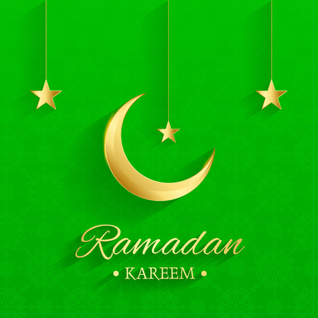 Golden Islamic moon and stars, ramadan kareem written with green background, islamic pattern, vector Illusztráció