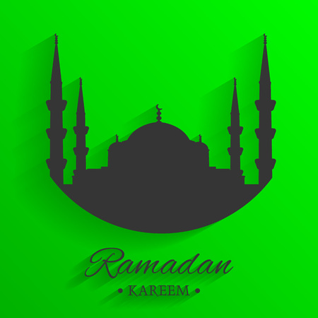 Mosque silhouette and written ramadan kareem with green background, islamic pattern, vector, illustration