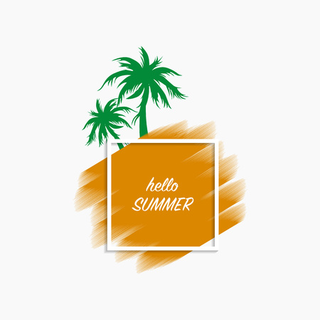 Hello summer modern banner white background with orange paint stroke and green palm trees, vector, illustration