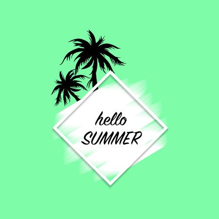 Hello summer modern banner green background with white paint stroke and black palm trees, vector, illustration Stockfoto - 126436176