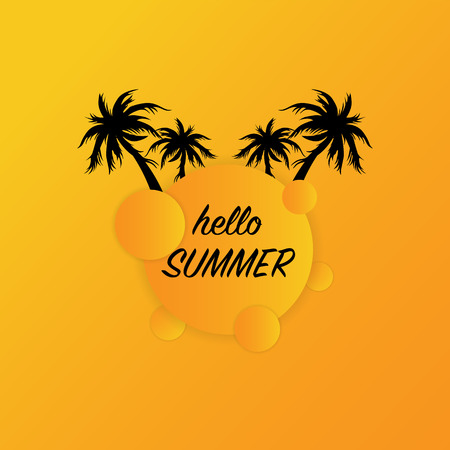 Hello summer modern banner with green palm trees, round orange geometric shapes, vector, illustration