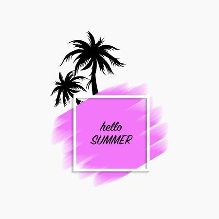 Hello summer modern banner white background with purple paint stroke and black palm trees, vector, illustration, eps file