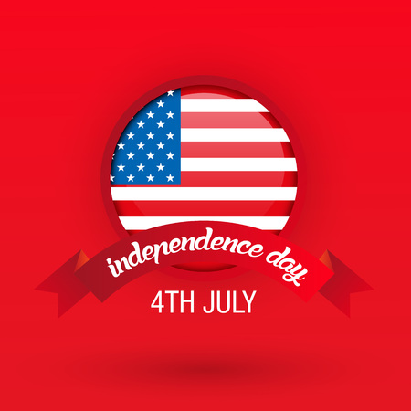 4th of July, United States independence day greeting card with red background, vector Stockfoto - 126436181